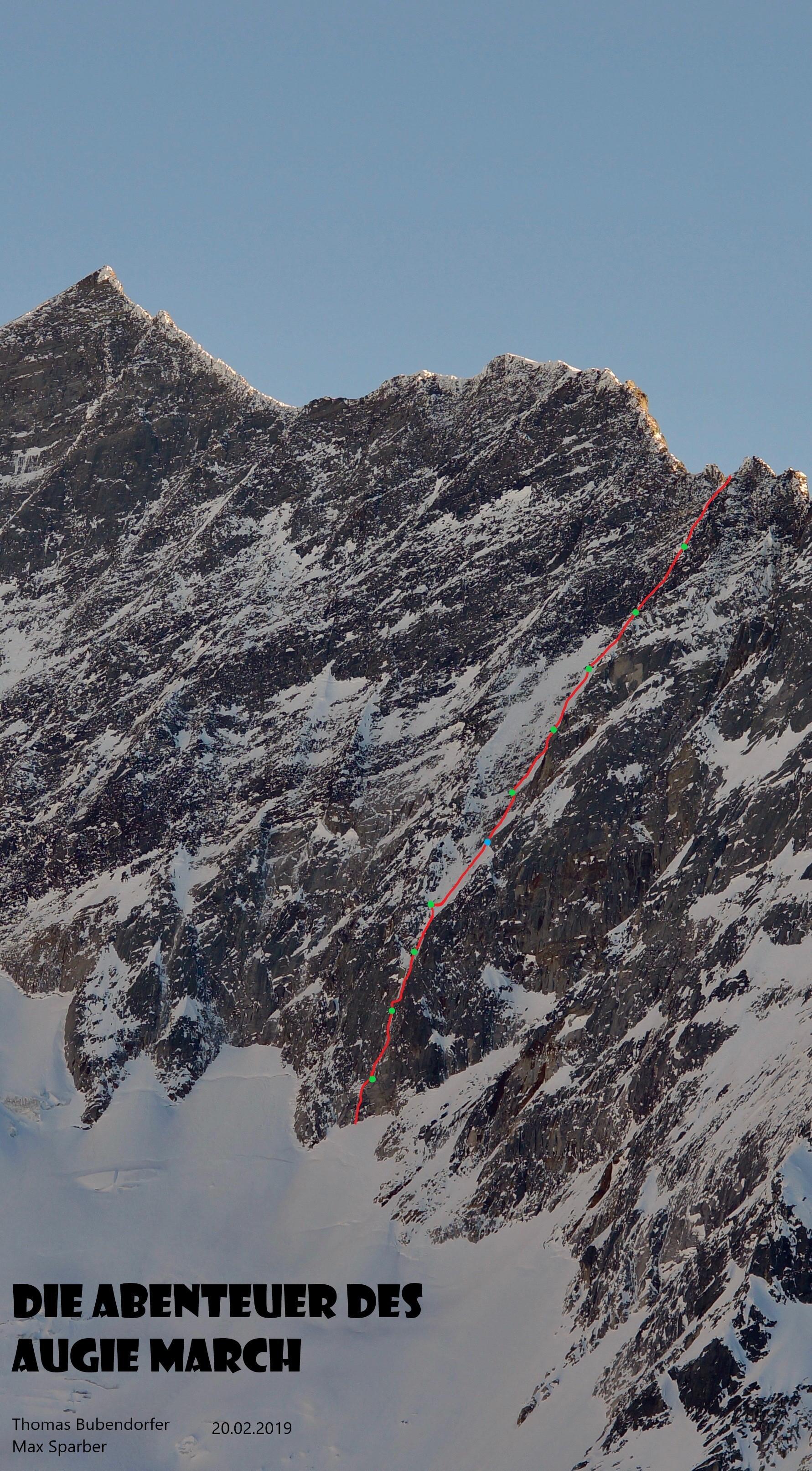 Hoher Kasten_Eiskögele Route Nordwand Abenteuer des Augie March SparberBubendorfer Feb. 2019